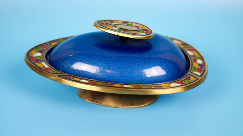 Vintage Mid Century Judaica - Abada Israel Trinket Stash Box Covered Bowl Blue in Colorful Enamel