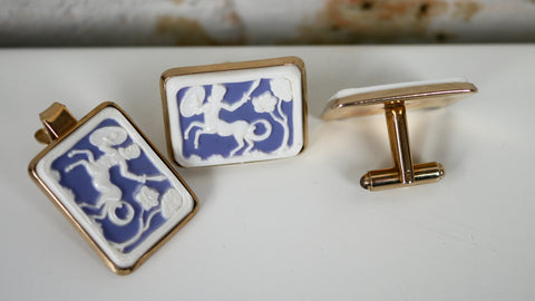Vintage Mid Century Cufflinks and Tie Bar Clip Set - Blue White Centaur Sagittarius Cameo Motif