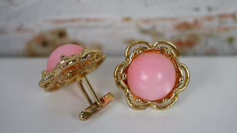 Vintage Pink Moonglow Cuff Links Gold Tone Metal