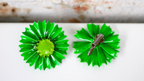 Vintage 1960s Neon Green Enamel Flower Clip on Earrings