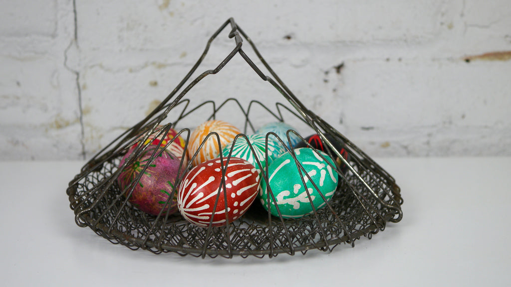 Vintage Collapsible Wire Egg Basket France French