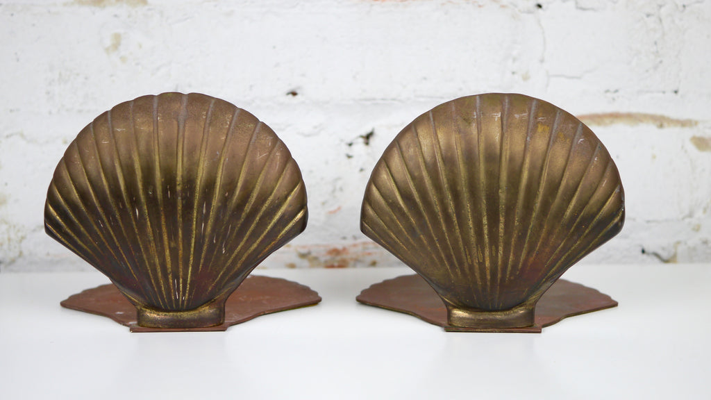 Vintage Brass Seashell Bookends Nautical