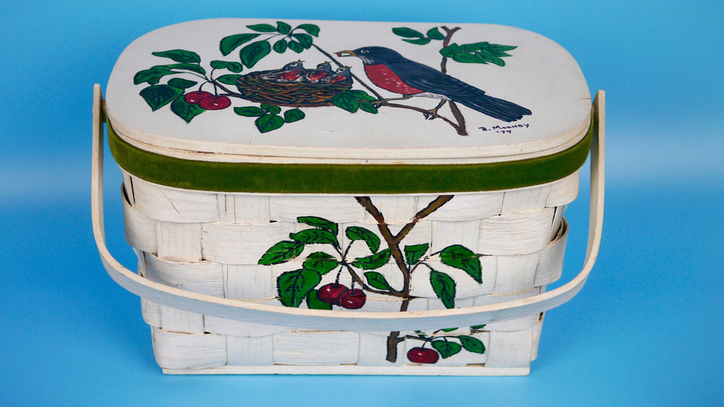 Vintage Hand Painted Basket Purse with White Birds Robins Cherries motif and Velvet