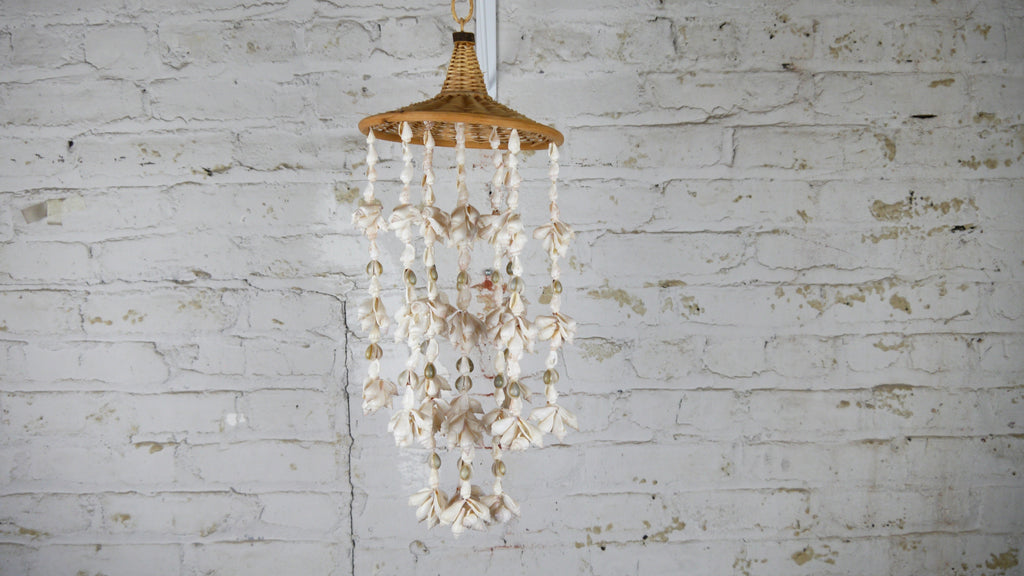 Vintage 1970s Seashell Hanging Mobile Chandelier Shells