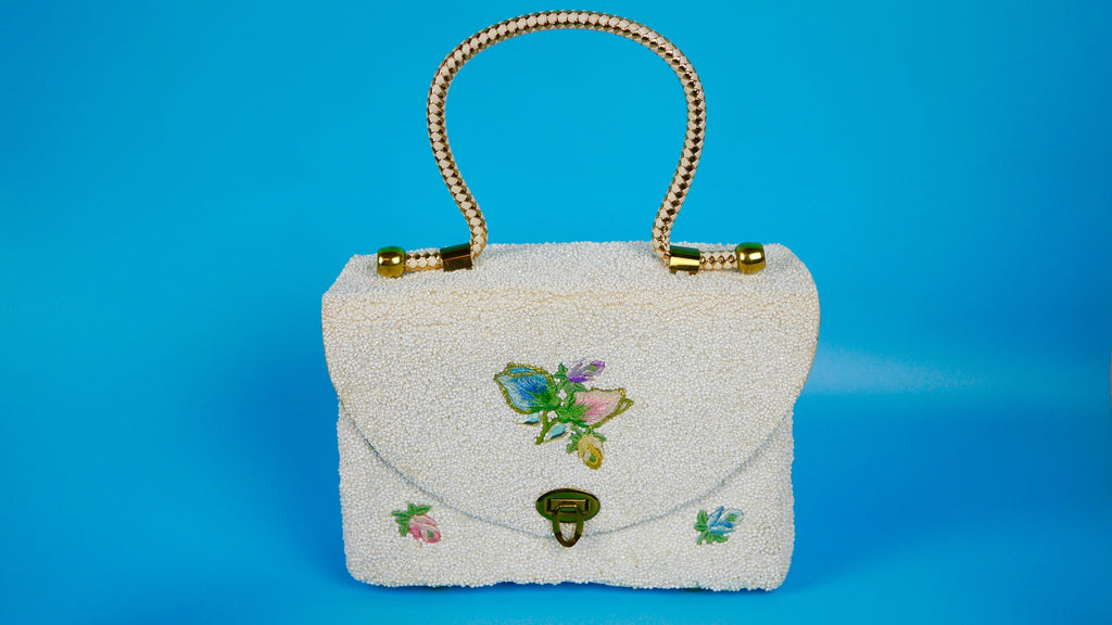 Vintage Beaded Purse by Midas of Miami White with Flowers Motif