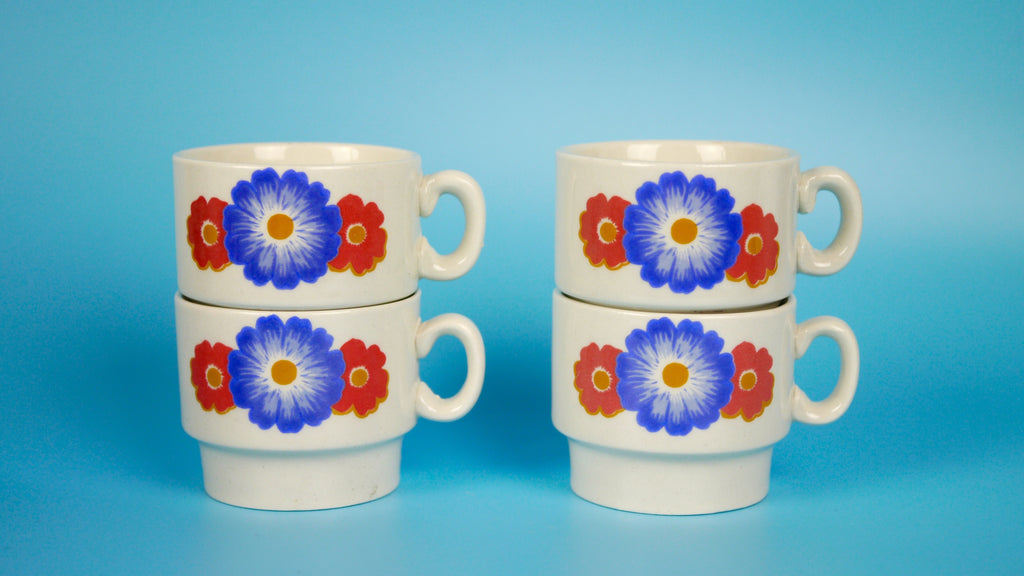 Vintage Espresso Mugs Weidmann Porzellan Red Blue Flowers Set of 4