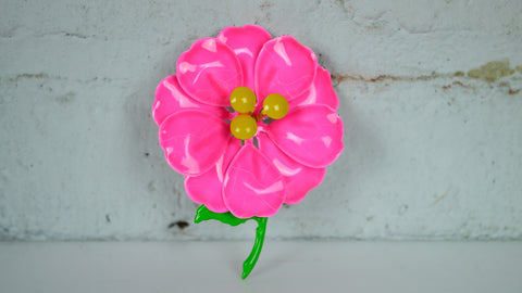 Vintage 1960s Brooch Enamel Flower Hot Pink