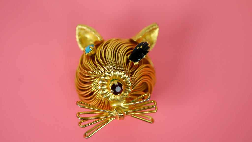 Vintage Mid Century Modernist Cat Brooch Spaghetti Wire