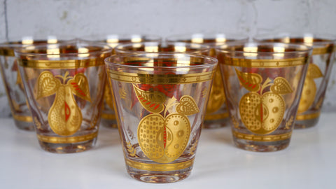 Vintage Mid Century Georges Briard Forbidden Fruit Lowball Rocks Glasses set of 8 apples pears