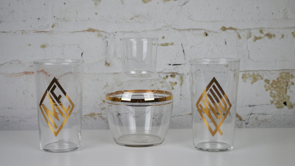 Vintage Mid Century Glassware Set You Me Decanter Libbey Gold