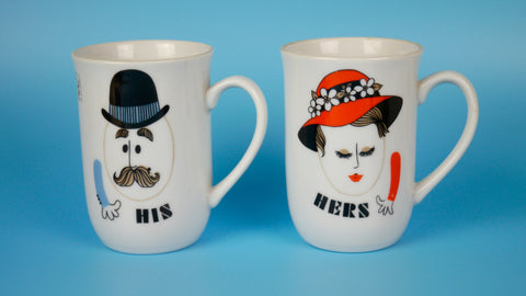Vintage Mid Century His Hers Mug Set Shafford