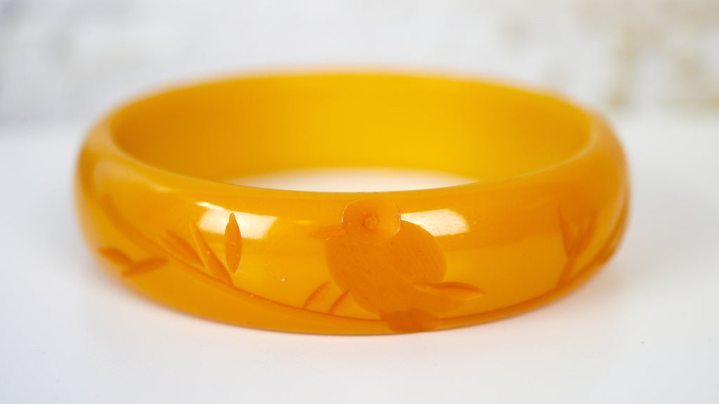 Bakelite Bangle Bracelet Carved Bird Butterscotch Yellow