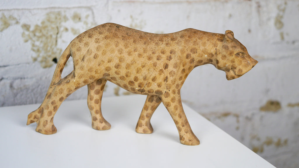 Vintage Mid Century Statuette - African Hand Carved Wooden Leopard or Cheetah with Dyed Spots