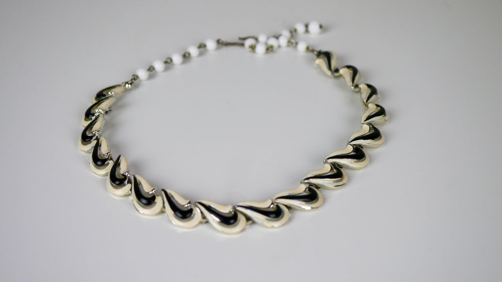 Vintage Mid Century Coro Black and White Enamel Necklace Abstract Design