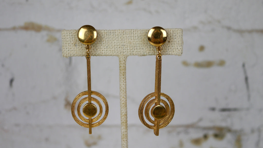 Vintage Mid Century Trifari Clip on Earrings Gold Modernist Atomic Geometric