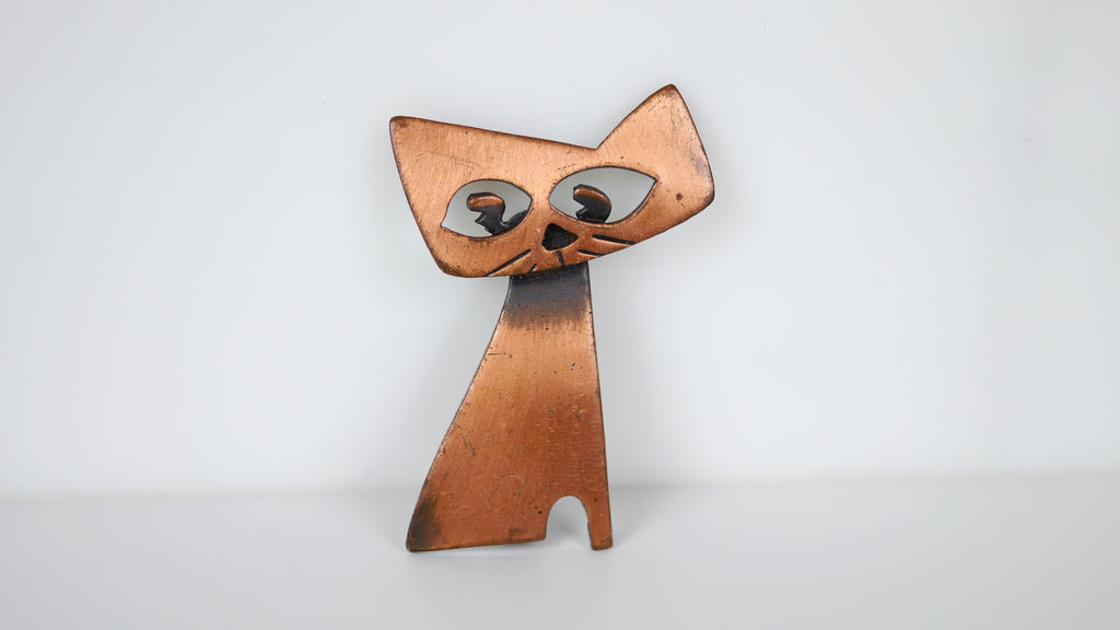 Vintage Mid Century Cat Brooch Copper Modernist Kim