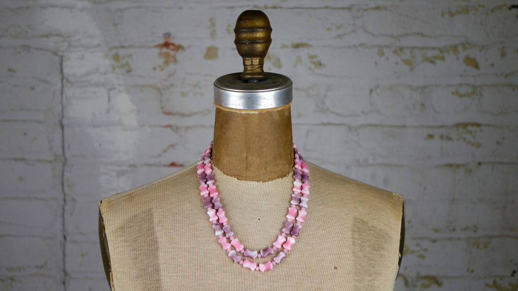 Vintage Mid Century West Germany Necklace Pastel Pink Purple Glass Beads Double Strand