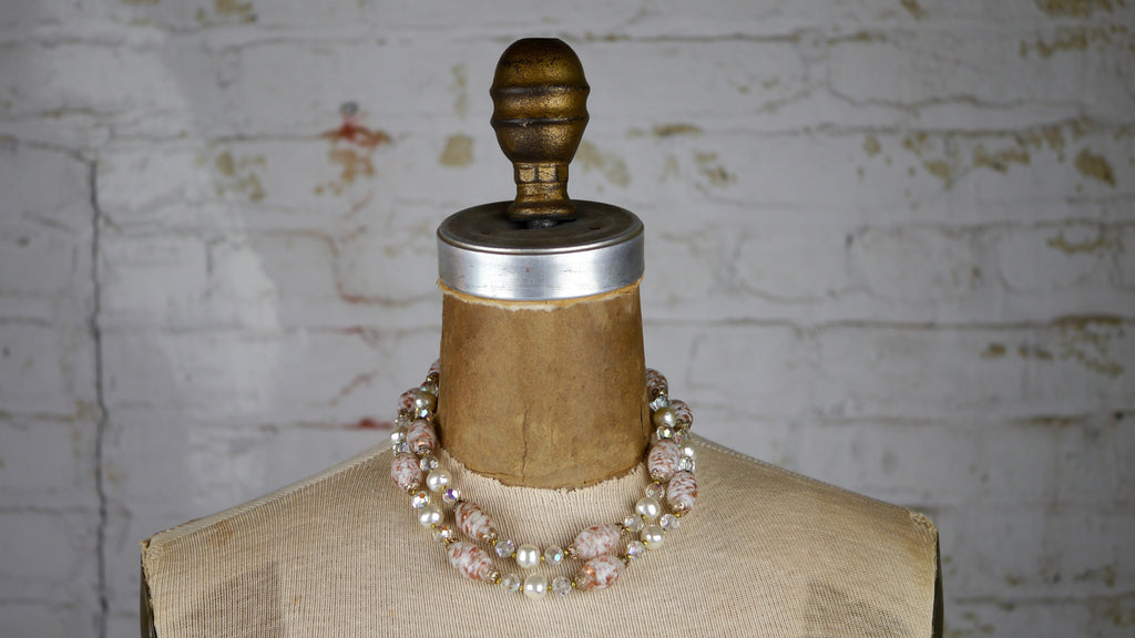Vintage Mid Century Necklace Beaded Pastel Pink AB Glass Beaded