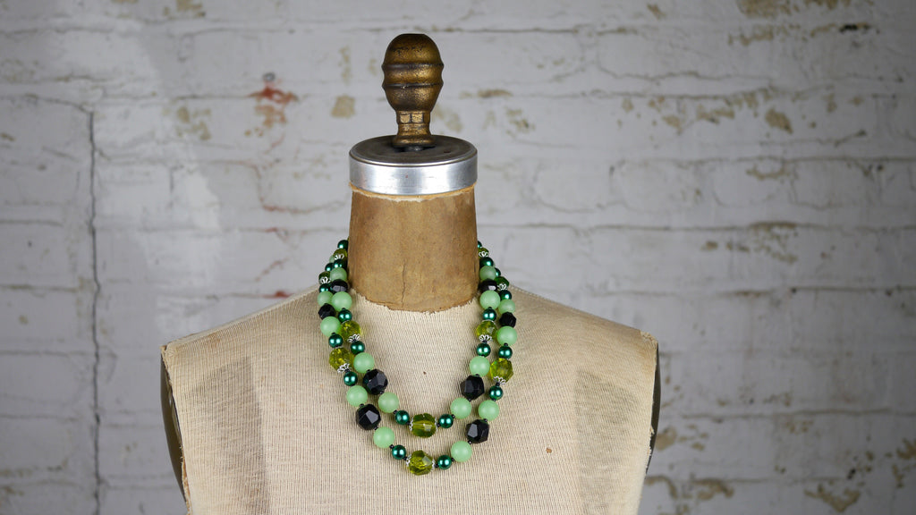 Vintage Mid Century West Germany Beaded Green Double Strand Necklace