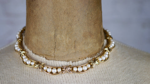 Vintage 1950s Trifari Necklace Faux Pearl Gold Tone