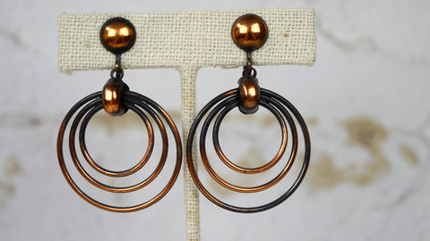 Vintage 1940s Copper Screw Back Earrings Hoop