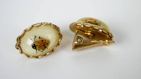 Vintage Real Ladybug Clip on Earrings Lucite