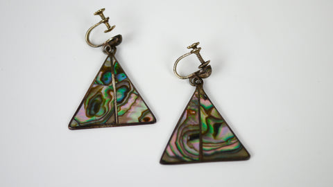 Vintage Screw Back Earrings Abalone Triangle Sterling Silver Alpaca Mexico
