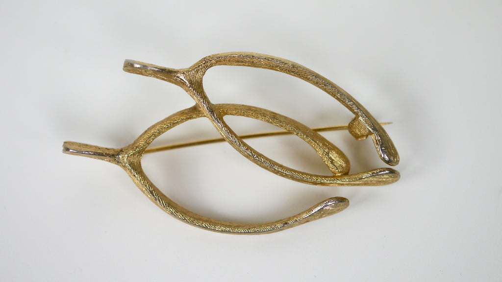 Vintage 1960s Judy Lee Double Wishbone Brooch Gold Tone