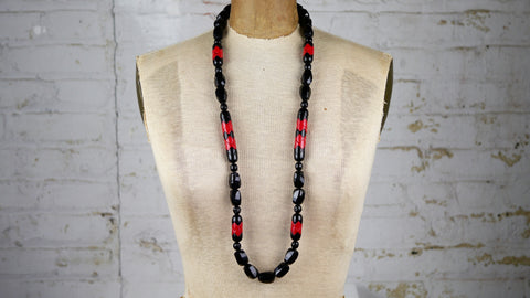 Vintage 1980s Monet Long Necklace Red Black Beaded Plastic