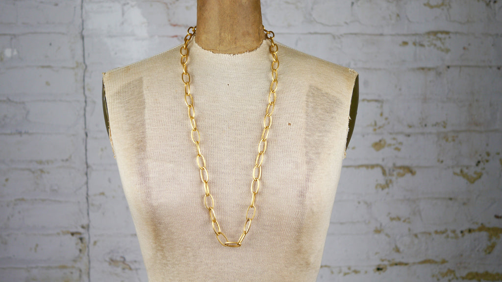 Vintage Long Large Gold Chain Necklace Matte Faux Carolee