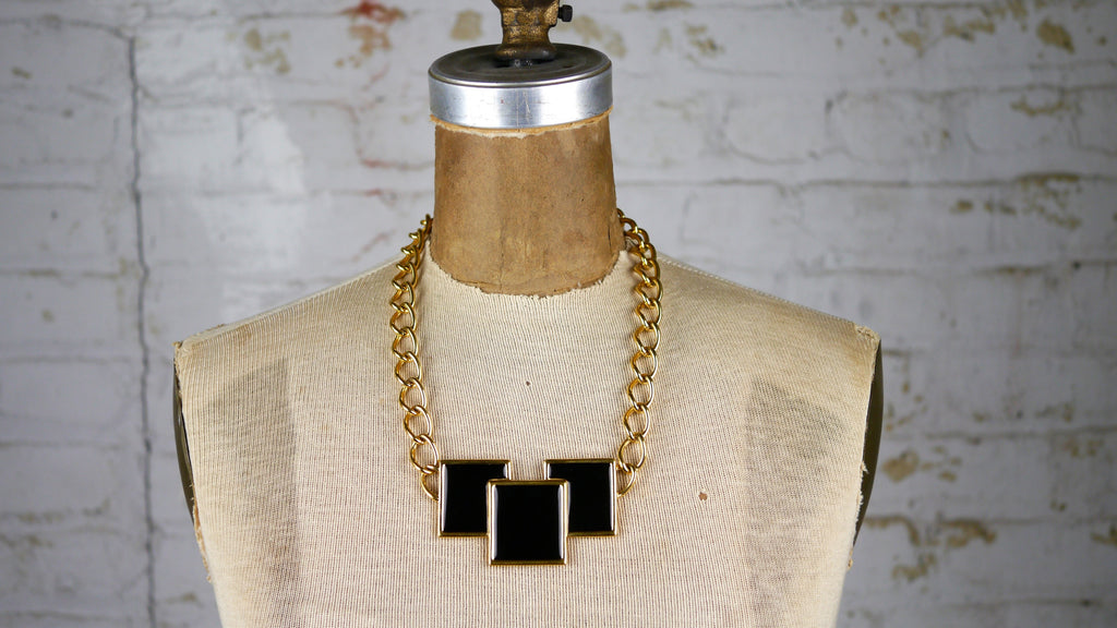 Vintage 1980s Monet Necklace Black Enamel Squares Geometric Big Gold Chain