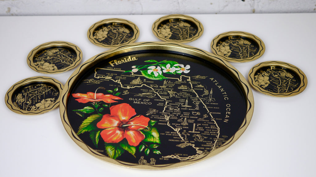 Vintage 1970s Florida Souvenir Tray with Matching Coasters Metal