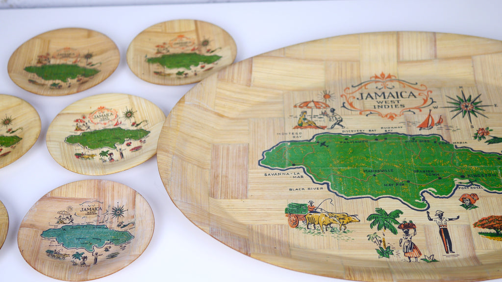Vintage 1960s Jamaica West Indies Wooden Tray with 6 Coasters Souvenir