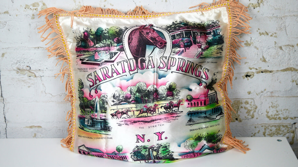 Vintage 1940s Saratoga Springs New York Souvenir Satin Pillow Case with Fringe Horse