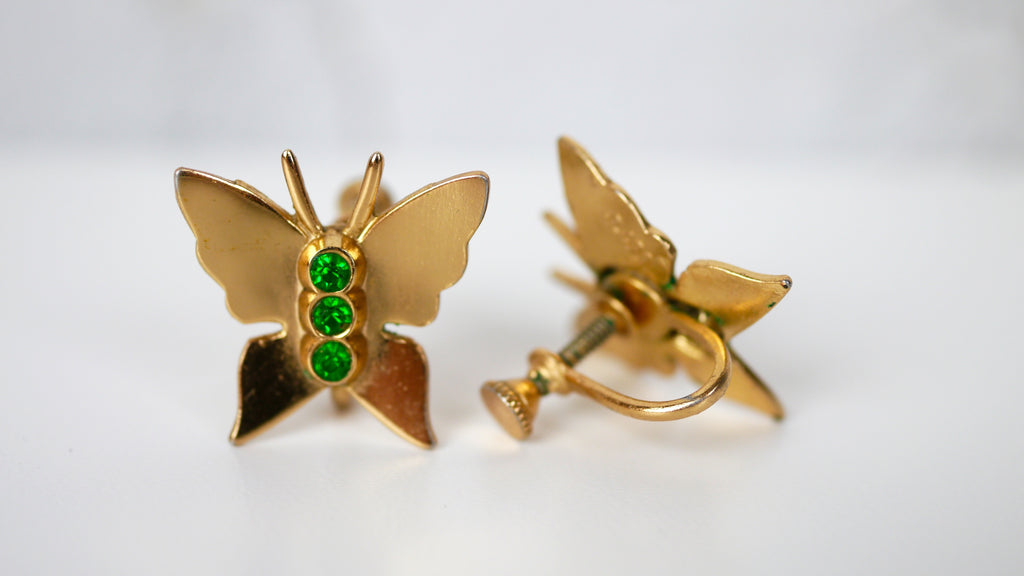 Vintage Mid Century Earrings - Coro Butterfly Screw Back Earrings Green Rhinestones in Gold Toned