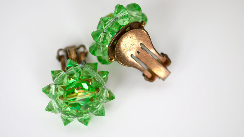 Vintage Mid Century Green Iridescent AB Beaded Flower Clip On Earrings