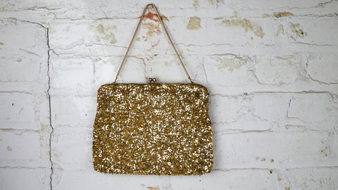 Vintage 1950s gold beaded sequin evening bag purse Hong Kong