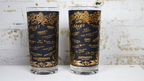 Vintage Mid Century Glassware Highball Glasses Black and Gold Set of 2 New York New Orleans Las Vegas