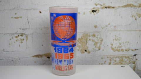 Vintage 1960s New York Worlds Fair Highball Glass Blue Orange 1964 1965