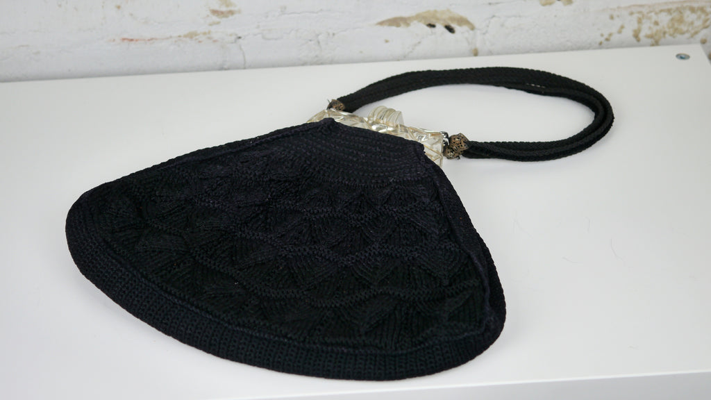 Vintage 1940s Black Crochet Purse Clear Lucite Handle