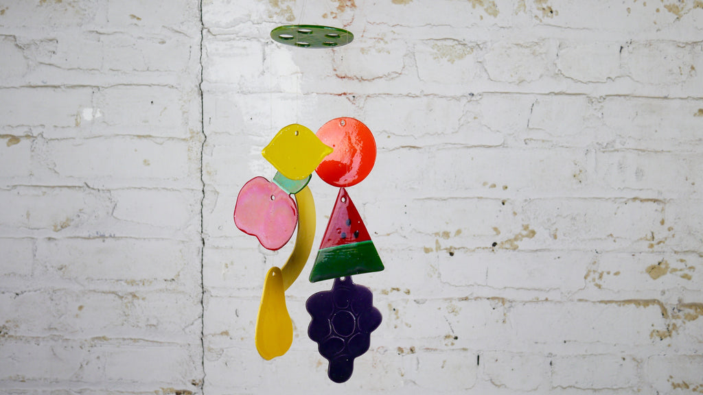 Vintage Ceramic Colorful Fruit Wind Chimes or Mobile by JAM