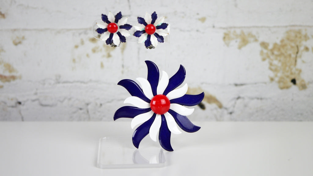 Vintage 1960s Red White Blue Enamel Flower Brooch and Clip on Earrings Set