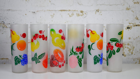 Vintage Mid Century Federal Glass Colorful Fruit Frosted Highball Glasses set of 6 or 12