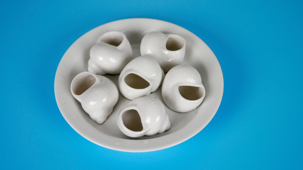 Vintage White Ceramic Escargot Plate Tray Set of 6