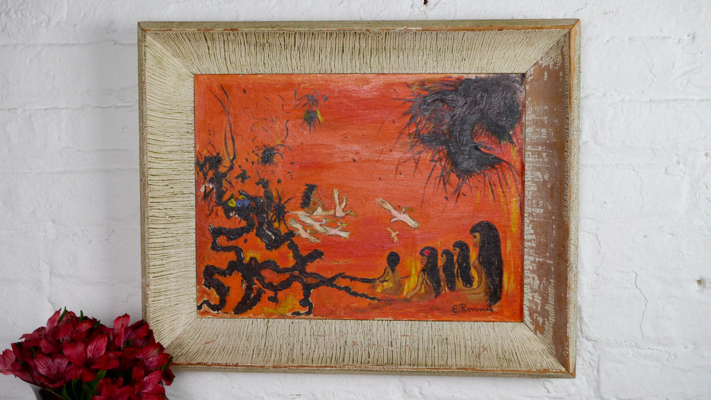 Vintage Mid Century Painting Orange Hawaii Sunset Beach Scene Abstract Expressionism
