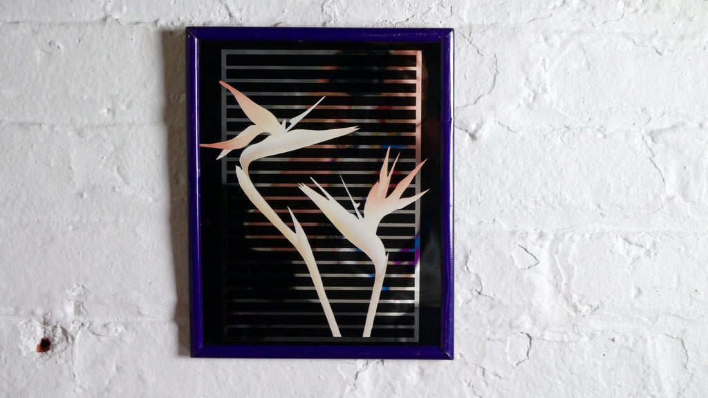 Vintage 1980s Mirror Bird of Paradise Flower Blush Pink