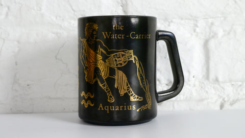 Vintage Mid Century Federal Glass Aquarius Mug Black Gold