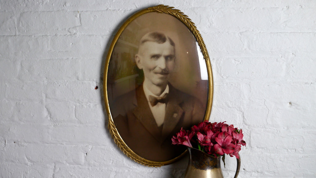 Antique Convex Glass Gold Oval Frame Hand Colored Man Photograph