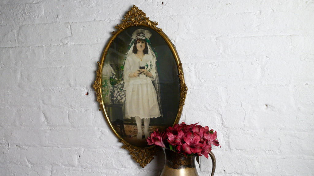 Antique Convex Glass Gold Oval Frame Hand Colored Photograph of Young Girl Communion
