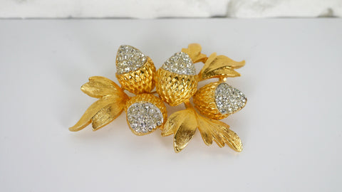 Vintage 1950s Brooch Acorns Leaves Rhinestones Gold